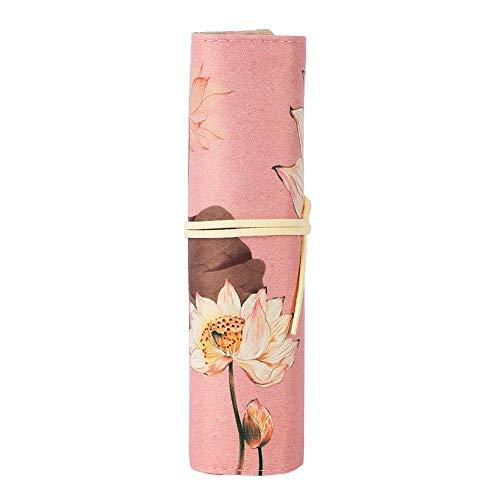 Jadeshay Pencil Case - Großformatige Bleistiftverpackung - Roll Up Case Reisestifttasche - Retro Style Pencil Storage Bag(Seerose)