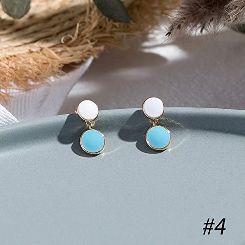 CXWK Korean Blue Geometric Flower Pendant Earrings Multiple Drop Earrings Trendy Floral Resin Acrylic Raffia Dangle Earrings