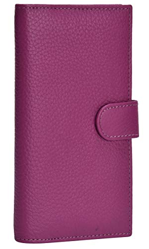 Leather Checkbook Cover RFID Wallets For Women Duplicate Check Card Pen Holder(Fuschia)