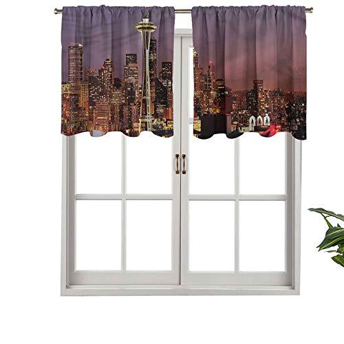Hiiiman Cortina Corta, Cortina opaca con bolsillo para barra de rascacielos por la noche, juego de 1, 106,7 x 45,7 cm pequeña media ventana cenefas para dormitorio