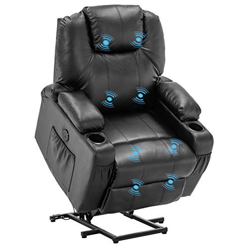 VINGLI Power Lift Chair for Elderly Electric Lift Recliner Chair with Massage,Faux Leather Massage Recliner for Living Room,USB Charge Port,Side Pockets,Cup Holders,Hidden Armrest Storage,Black
