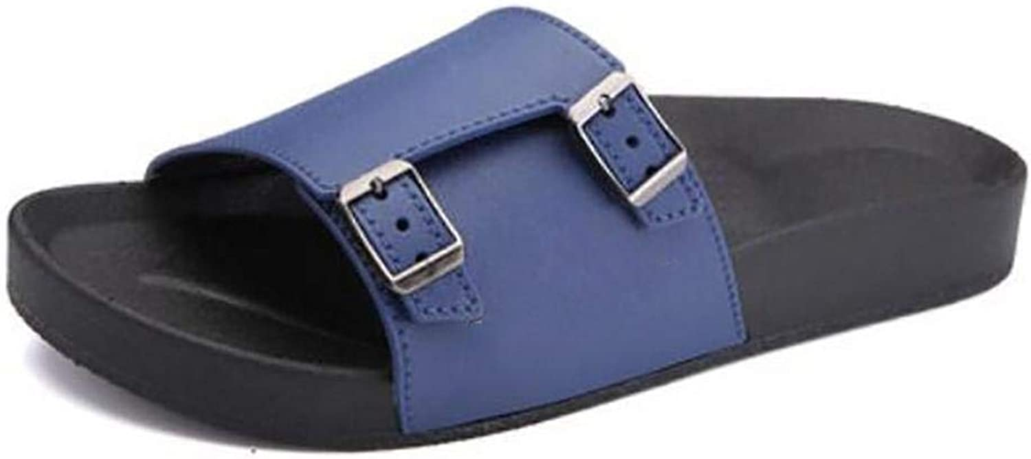 Men Sandals Summer bluee Trend Double Buckle Word Slippers Large Size Beach Non Slip Travel Sandals Creativity Quality Male Pole shoes for Men 41