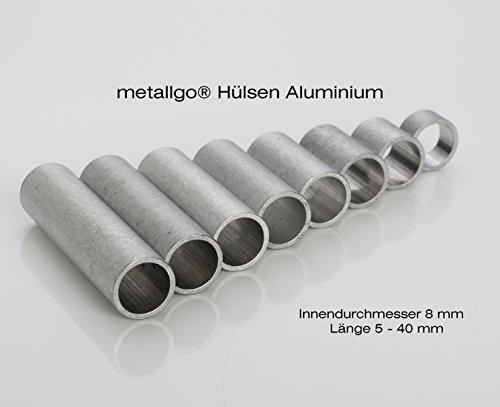 Aluminium Abstandshülsen, Distanzhülsen – ohne Innengewinde, M8 Schrauben beweglich durchsteckbar – 10 x 8 x 1 mm (Außen x Innen x Wandstärke) – 5 Stück, Länge 10 mm