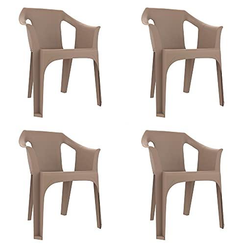 RESOL Cool Set 4 Sillas de Jardín con Reposabrazos Apilable | Terraza, Patio, Exterior, Comedor, Reuniones | Diseño Moderno Ligera y Resistente Filtro UV - Color Marrón Arena
