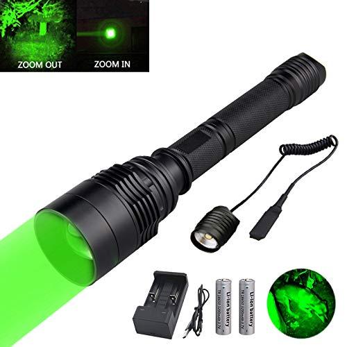 Taschenlampe Grün für Jagd, WESLITE Jagd Taschenlampe Grünes Licht Zoombares Lampe für die Jagd 350 Meter Nachtsichtgerät Jagd mit Druckschalter Verlängerungsröhre und Wiederaufladbaren Batterien