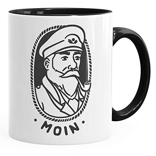 MoonWorks® Kaffee-Tasse Kapitän Seemann mit Pfeife Schriftzug Moin schwarz Keramik-Tasse