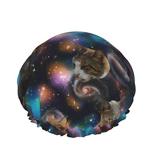 Gorro de ducha reutilizable, con doble capa exterior impermeable para todas las longitudes de pelo (gatos galaxia)
