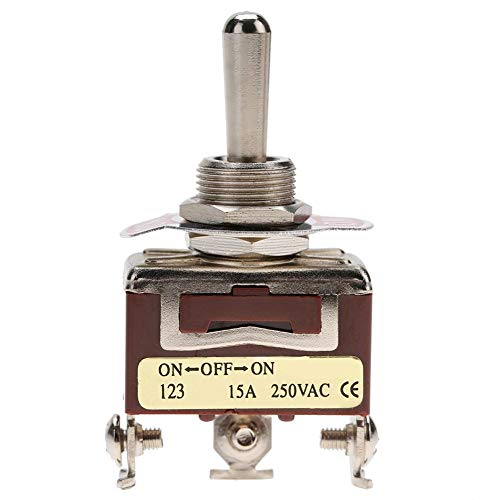 SPDT Kippschalter, 3 Positionen, 3-polig, 250 V AC, 15 A, ON-OFF-ON, Momentary Toggle Switch 12 mm Mount
