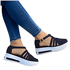 Aniywn Womens Summer Closed Toe Platform Sandal Shoes Casual Hollow Ankle Straps Shoes Slip On Soft Shoes Black