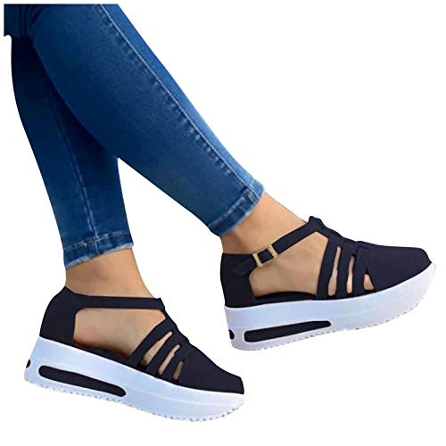 Aniywn Womens Summer Closed Toe Platform Sandal Shoes Casual Hollow Ankle Straps Shoes Slip On Soft Shoes Blue