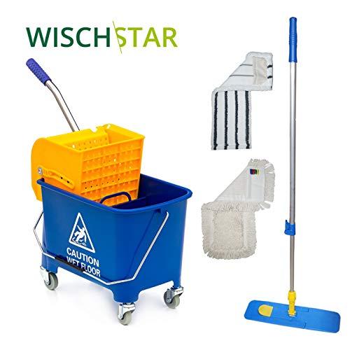 Wisch-Star Putzwagen zur Bodenreinigung, Reinigungswagen und Wisch Set mit Eimer und Mopp Presse, Teleskop-Stiel und 2 Wischmopps