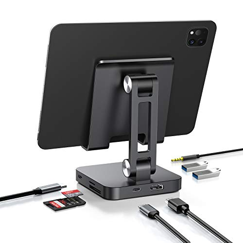 USB C Hub Stand, 7 in 1 USB C Hub Multiport Adapter with 4K HDMI&100W Power Delivery, Laptop and Phone Stand with USB C Hub Adapter, Adjustable Laptop Stand with Type C Hub for iPad Mac Chrome Switch