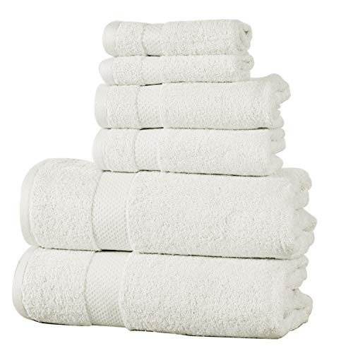 ISABELLA CROMWELL 100% Cotton Super Absorbent 600 GSM 6 pc Towel Set; 2 Bath Towels, 2 Hand Towels 2 Wash Cloths -Ivory