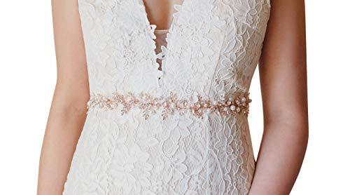 SWEETV Handgemacht Strass Hochzeit Gürtel Kristall Braut Schärpe Brautgürtel für Ballkleid Abendkleider, Rose Gold