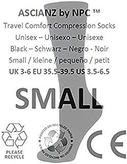ASCIANZ by NPC Compression Travel Flight Socks Size 3.5-6.5 SMALL - BLACK black Black Small