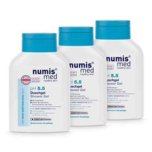 numis med Duschgel ph 5.5 3er Pack - Hautberuhigendes Shower Gel für sehr empfindliche & sensible Haut - vegane Hautpflege ohne Silikone, Parabene & Mineralöl - Showergel (3x 200 ml)