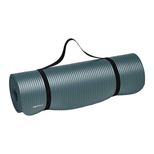 Amazonベーシック ヨガマット トレーニングマット エクササイズマット キャリーストラップ付 極厚 188×61×1cm グレー