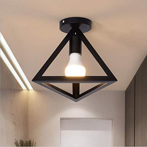 Chao Zan Colgante Iluminación Lámparas de Techo Retro Colgante de Luz, geométrico E27, lámpara colgante Triangular Metal Pantalla de la Lámpara para dormitorio Comedor cocina sala, negro