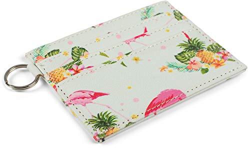 styleBREAKER Dameskaart etui met kleurrijk Flamingo Tropic patroon, portemonnee, compact creditcard etui 02040139, Farbe:Mint-Meerkleurig
