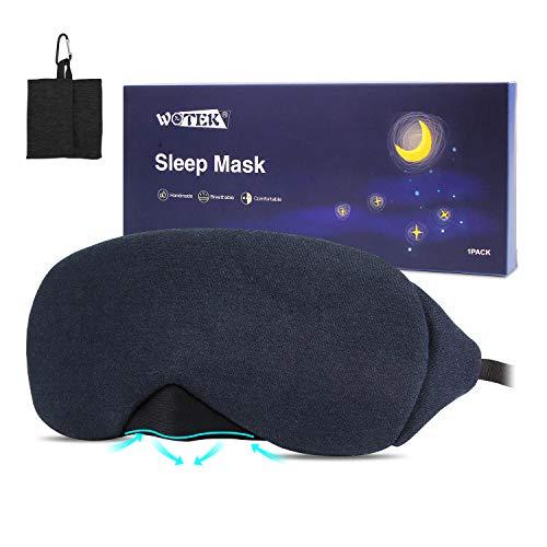 Schlafmaske, WOTEK 100% Baumwolle Atmungsaktive Herren Damen Schlafbrille, 3D Schattierung Augenmaske mit Einstellbar Gummiband für Nachtschlaf, Nickerchen und Reise (Dunkelblau) …