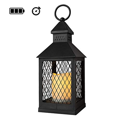 Eldnacele - Farol decorativo sin llama con 6 horas de temporizador, funciona con pilas, resistente al calor, lámpara LED para colgar en interiores (negro, 10,16 x 10,16 x 27,94 cm)