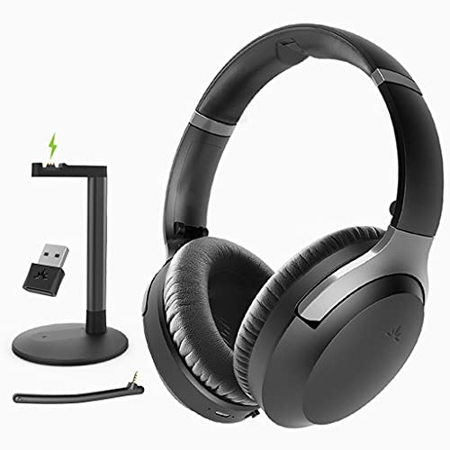 Avantree Aria 8090T Bluetooth 5.0 aptX HD Auriculares Cascos cancelación Activa Ruido micrófono, Adaptador USB, Dongle Soporte Llamadas música, inalámbricos sobre Oreja PC tfno Ordenador PS5 PS4