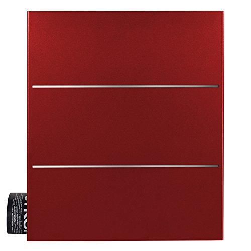 Briefkasten mit Zeitungsfach rubin-rot (RAL 3003) MOCAVI Box 141 Postkasten Edelstahl-Detail V2A Wand-Briefkasten mit Zeitungsrolle groß modern deutsche Marken-Qualität DIN A4