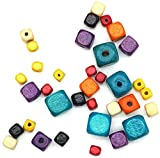 JIEERCUN 500pcs 5mm Bricolaje Perlas de Arce Coloridas con Cuentas con Cuentas Sueltas Perlas cuadradas Accesorios de Madera Joyas (Color : Multi-Colored)