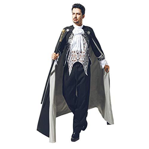 YuanDian Halloween Hombre Disfraces De Vampiro Dracula Capa Pantalones Conjuntos Terror Faciles Gótico Traje De Vampiro Maquillaje Disfraces Carnaval