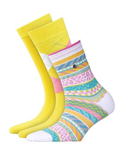 BURLINGTON Damen Socken Gift Set - Baumwollmischung, 3 Paar, Gelb (Yellow 10), Größe: 36-41