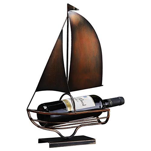 TDOYO Soporte para Botellas de Vino de Metal con Forma de velero, Estante de Almacenamiento para el hogar, Oficina, Sala de Estar, Decoración del gabinete de Vino de la Sala de Estar,A