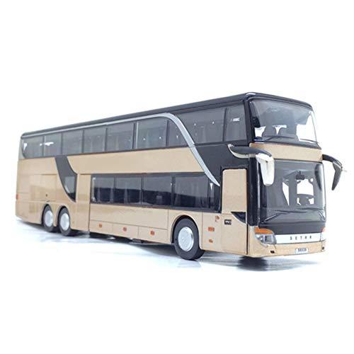 Lanceasy 1:32 Metalllegierung Doppelschicht-Bus Rückziehmodell, niedliches Nachtsicht-Sammlerstück Gold