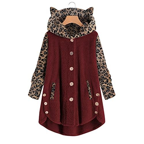 Aniywn Women Girl Fleece Hoodies Cute Cat Ear Faux Fur Button Down Pullover Hoodie Solid Warm Winter Sweatshirt Outwear Wine