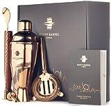 Rusty Barrel Chelsea Cocktail Set zum Selbermixen – Roségold Geschenkset Manhattan Edelstahl Cocktail Shaker, Stößel, Sieb, Messbecher, Ausgießer, Löffel, Tasche und Rezeptheft - mit Geschenkbox