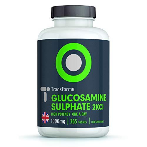 GLUCOSAMINE SULPHATE 2KCI 1000 mg - Complément Alimentaire - DOULEURS ARTICULAIRES | 360 comprimés | Sans OGM, Sans Gluten | VEGETARIEN et VEGAN | Fabriqué et au Royaume-Uni par Transforme