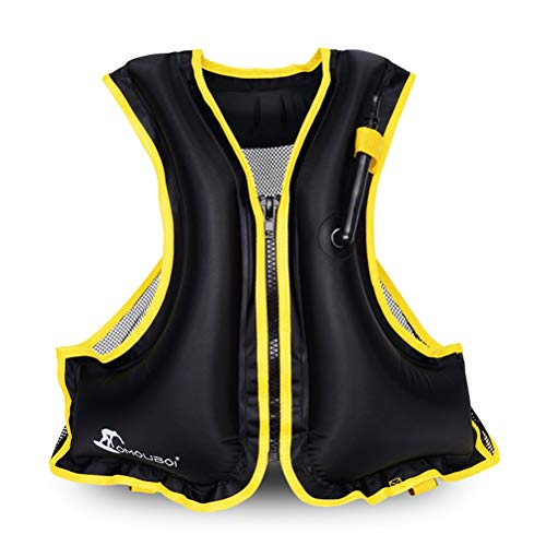 OMOUBOI Snorkel Vest Life Jacket Inflatable Kayak Life Vest for Adults and Youth 88-220 lbs Swimming Boating (Black)