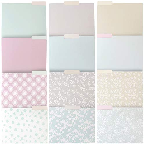 Decorative File Folders, Letter Size (9.5 x 11.5 Inches, 12-Pack)
