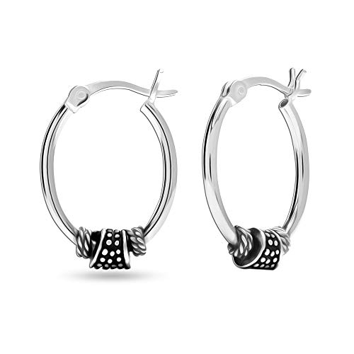 LeCalla Sterling Silver Jewelry Antique Finish Bali Hoop Earring for Women Girl