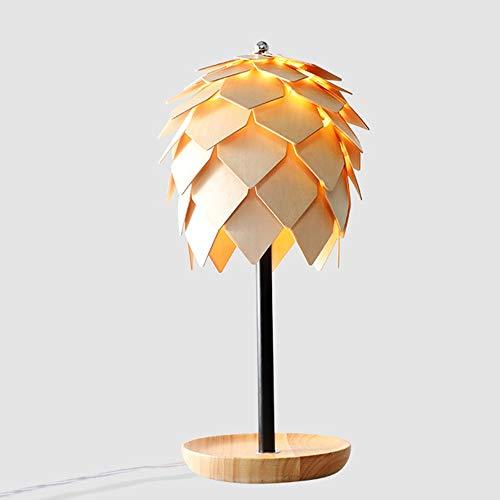 XinMeiMaoYi lámpara de mesa Restaurante Cono De Pino Lámpara De Mesa Estilo Nórdico Personalidad Creativa Madera Maciza Lámpara De Cabeza Única Arte De Madera Moderna Bar Decoración De La Mesa