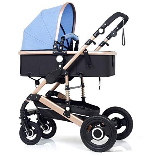 Jixi Cochecito de bebé Plegable de Dos vías en Las Cuatro Ruedas Amortiguador Cochecito de niño con portavasos Mosquito Net Cochecito de bebé (Color : D)