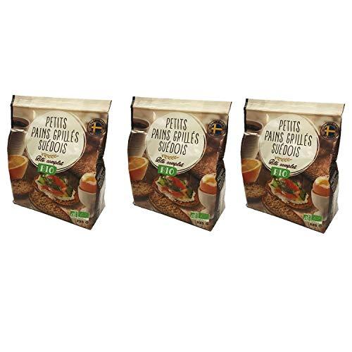 Lot 3x Petits pains grillés suédois blé complet BIO - paquet 225g