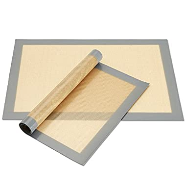 2-Pack Non-Stick Silicone Baking Mat, Toaster Oven Liner, Cookie Sheet, 16.5  x 11.5
