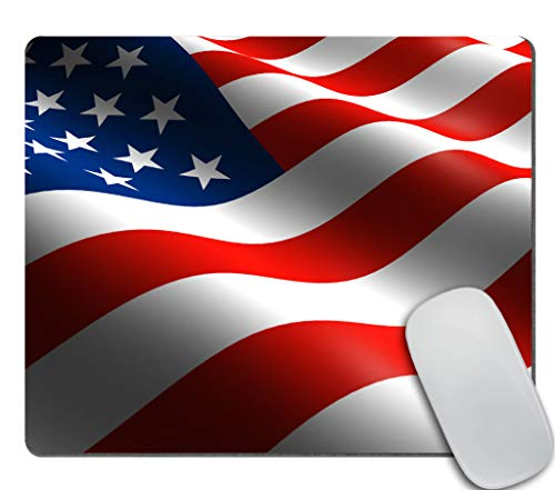 Amcove American USA Flag Waving in The Air Red Blue White Mousepad Non-Slip Rubber Gaming Mouse Pad Rectangle Mouse Pads for Computers Laptop Cat Desk Accessories