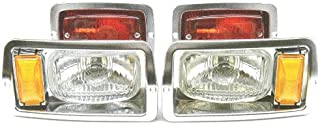 GOLF CART CLUB CAR DS HEADLIGHT (7x4) AND TAILLIGHT KIT CHROME BEZELS