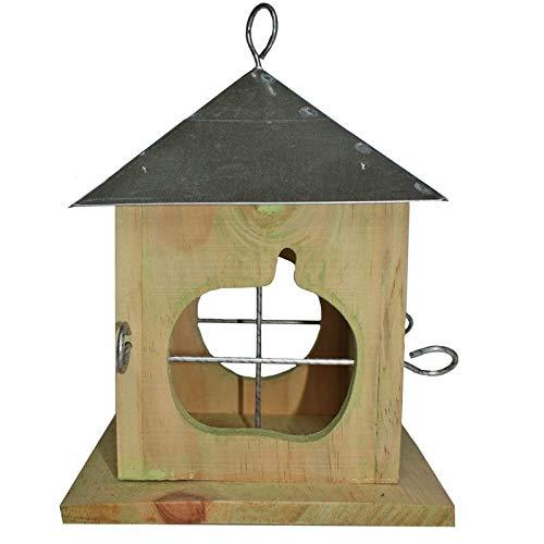 caramondo Vogelhaus Futterhaus Futterstelle Apfelhaus Vogel- Apfel- Häuschen Holz Zink zum Aufhängen