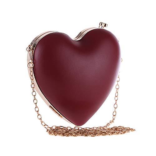 LLUFFY-Damen Clutch handtasche Banketttasche Schulter Messenger Bag Mini-Herzkette in kleiner Tasche, rot