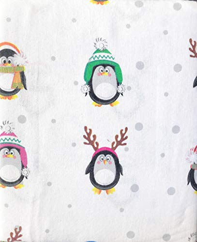 Nate & NAT 3 Piece Cotton Flannel Twin Size Sheet Set Black White Penguins in Colorful Winter Hats