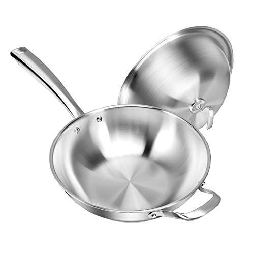 316 Sartén/cacerola de acero inoxidable/sartén antiadherente con tapa (34 cm) para freír un filete, huevos, para estufa eléctrica, cocina de inducción y estufa de gas
