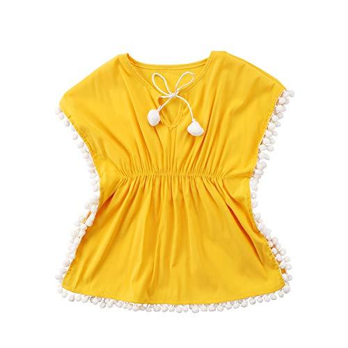 Douhoow Badeponcho für Kleinkinder, Babys, Mädchen, Strandkleid, Sommerponcho - Gelb - 2-3 Jahre