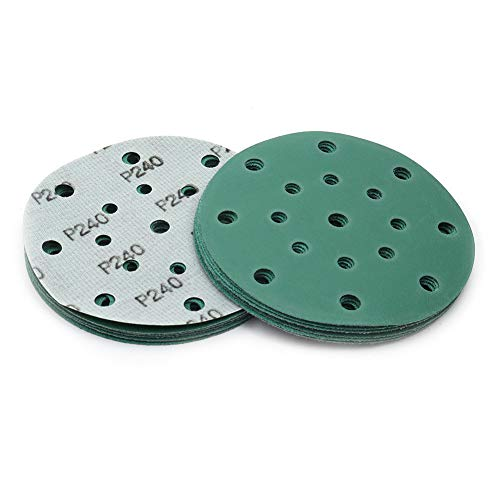 Discos abrasivos de 150 mm de diámetro con velcro, grano 240, 20 unidades, para muebles de madera, metal, coche, 17 agujeros, húmedos y secos, de poliéster de Maxman